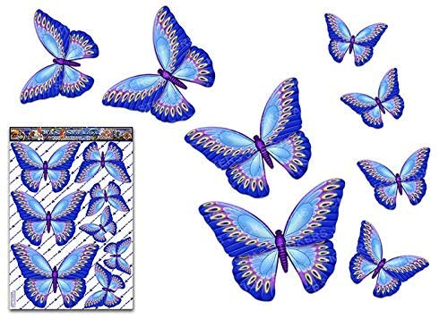 Adesivo per auto adesivo blu farfalla grande adesivo per portatili, roulotte, camion, barche ST00025BL_LGE - Adesivi JAS