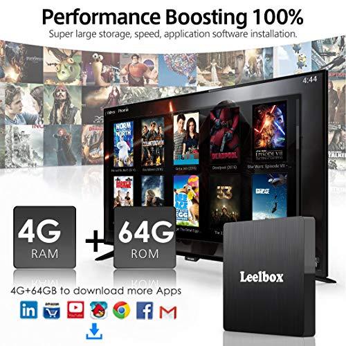 Android 8.1 TV BOX, Android Box 4 GB RAM 64 GB ROM, Leelbox Q4 max RK3328 Quad Core 64 bit Smart TV BOX, Wi- Fi integrato, BT 4.1, Box TV UHD 4K TV, USB 3.0