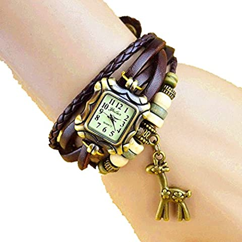 Mixe® Handmade Knitted Jewelry Watch Women Ladies Boho Chic Watches Dress Decor (Giraffe-Leather Brown)