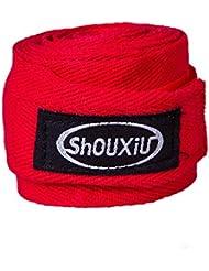 Deportes diadema de algodón no Slip–Cintas de vendaje elástico Pullover muñequeras, boxeo, Muay Thai–Wrap Correa Mano vendado sudor–, rojo