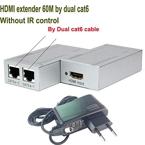 1pcs HDMI Extender IR-Verstärker von CAT5e / 6-Kabel bis zu 60 m (HDMI-Sender + Empfänger), Durch doppelte CAT6 No IR -