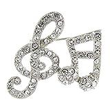 Brooches Store Brosche Silber Glaskristall Notenschlüssel mit Musiknoten-Design