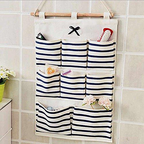 Xining hanging storage bag sacco di 8tasca da appendere in tessuto di cotone porta parete salvaspazio
