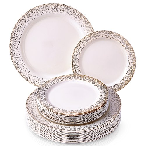 Silver Spoons Ocean Mist Collection White/Gold Platos desechables, plástico, Dorado/Marfil