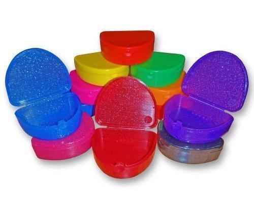 Bleichschienen (Slim Kieferorthopädisch Dentale Hülle - Farbe & Glitzer Auswahl für Spangen, Bleichschienen, Zahnersatz & Mehr - Glitzer Schwarz)
