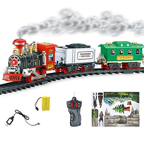 (Dampfzug Spielzeug, Gusspower Fernbedienung klassische Spielzeug Geschenk Zug mit Real Rauch, Full Set mit Lokomotive Motor und Autos, Tracks (A))