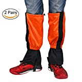 Hiking Gaiters Snow Gaiters Unisex Waterproof Outdoor Walking Hunting Climbing Skiing Legging Gaiters Covers , 2 Pairs (2 Pairs Orange)