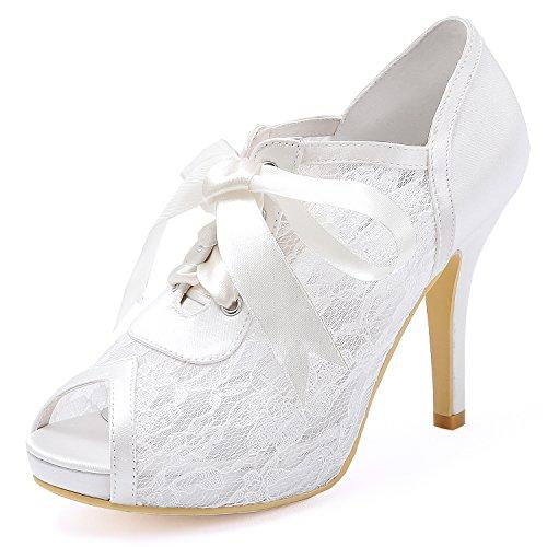 Botín de novia blanco, o con cinta, Blanco (blanco), 37