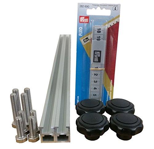 4 Stück à 1m Aluminium C-Profil + Maßband + Sterngriffmuttern M6 + Schrauben / Alu C Profil