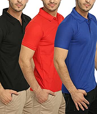 Fundoo-T Men's Poly Cotton Combo Of Black & Red Polo T-Shirt (Small)