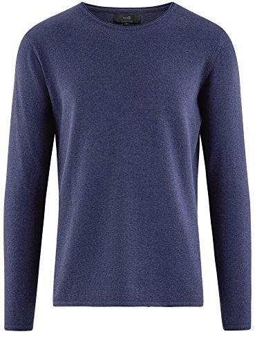 oodji Ultra Herren Baumwoll-Pullover Basic Blau (7500M)