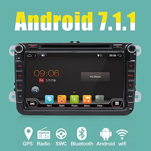 Android 7.1 Qurd Core 16 GB 2 GB Voiture Radio Stéréo Navigation avec Bluetooth pour VW Golf Skoda Passat Siège 1024 * 600 Voiture CD Lecteur DVD Soutien Capteur De Stationnement DAB + Subwoofer Miroir Lien WIFI SWC OBD2 TV Cam-En