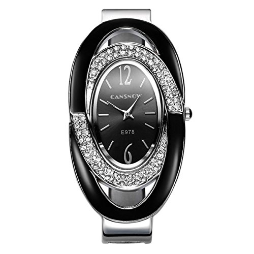 Mode Damenuhren Quarzuhr Luxus Strass Edelstahl Uhrenarmbänder Oval Zifferblatt Armband Kleid Armbanduhr Armbanduhren für Damen, Schwarz Damen-uhren Mit Dunklem Gesicht