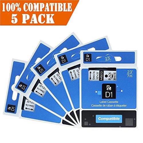 Aken 5x Schriftband Kompatibel zu Dymo 45013 S0720530 Etikettenband D1-Etikettenbandkassette Schwarz auf Weiß 12mm x 7m