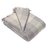 EHC Premium Reversible 100% Cotton King Size 225 x 250cm Tartan Throws for Sofa, Bedspread