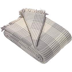EHC Couvre-lit pour canapé réversible Extra-Large en Tartan de qualité supérieure, Beige, Taille L/225 x 250 cm, Coton, Gris, Large/225 x 250 cm/King