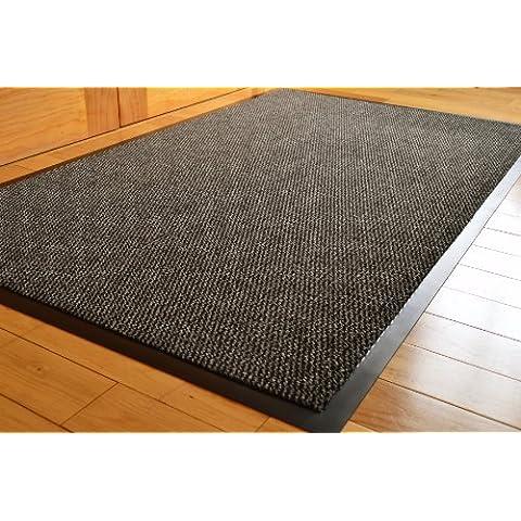 Big Extra grande gris y negro barrera Mat con bordes de goma resistente antideslizante entrada cocina salón corredor alfombra alfombrillas 120x 180cm (6x 4ft)