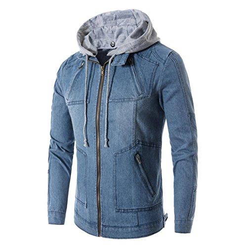 Männer Jeans Hoodies,Moonuy Männer Herbst, Frühlingsbluse Mode Langarm Taschen Reißverschluss Jeans Denim Mit Kapuze, Charme Dünner Mantel Jacke Mit Taschen (Blau, EU 36 / Asien M) (Baja Denim)