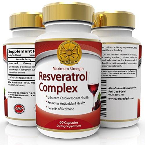 Trans Resveratrolo Max Forza 250mg Alto Potere Antiossidante Supplemento, Stessi Vantaggi Di Vino Rosso Polifenoli Estratto, Apparire Più Giovani Si Sentono Meglio, 60 Capsulas, 2 Al Giorno Per 500 Mg
