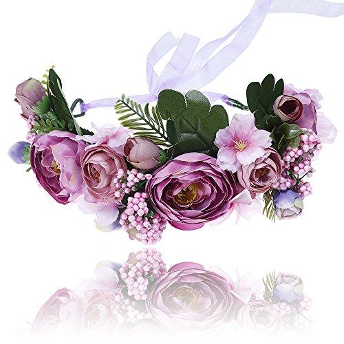 Damen Blume Stirnbänder Girlande Krone - Handgemachte Verstellbare Mädchen Floral Hairband Schaum Kopfschmuck mit Band für Hochzeit (Lila) (Kranz Form Band)