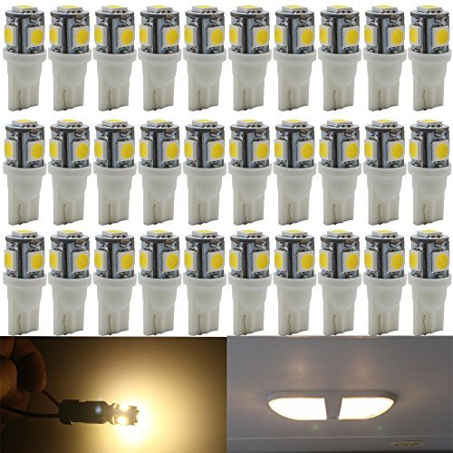 30-Pack 194 T10 168 2825 Warm White LED Light 12V,AMAZENAR 5 SMD 5050 Chipset Car Interior Replacement W5W 175 158 Bulb For Map Dome Courtesy Trunk License Plate Dashboard Side Marker Parking Light