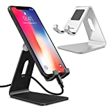 PolySky 2 Pack Handyständer Handyhalter Telefone Tablet Ständer Weige Dock für iPhone 8 7 6 Plus X iPad Mini Pro Air Samsung Galaxy Tab S8 Tisch Metall Stand Handyhalterung Silber Schwarz Einstellbar