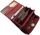 Große Rindleder Damen Geldbörse mit extra vielen Fächern in 5 Farben (Rot)