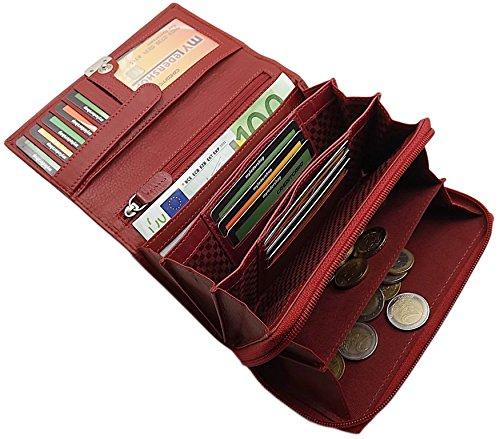Große Rindleder Damen Geldbörse/Geldbeutel/Portemonnaie/Portmonaise/Geldtasche/Portmonee mit extra vielen Fächern in 5 Farben (Rot) (Masse In Der Bevorzugt)