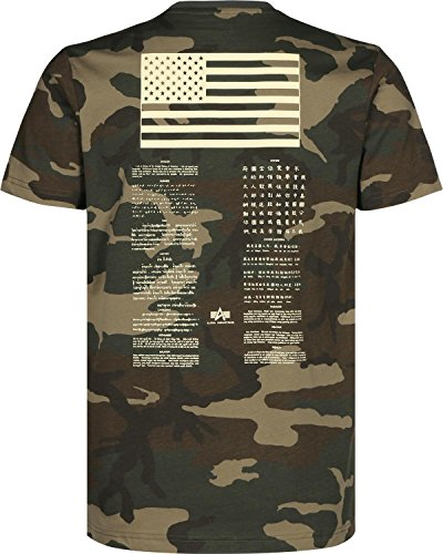 Alpha Industries Blood Chit Print T-Shirt L Oliv-Khaki