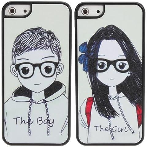 Gafas amantes Pareja trasera dura del caso plástico para el iPhone 5.