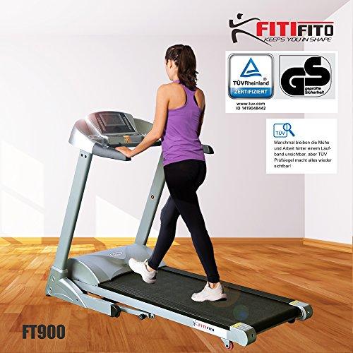 Fitifito FT900 Profi Laufband 7PS 22km/h mit LCD Bildschirm, Dämpfungssystem, 5 Trainingsmodulen inkl. HRC – Klappbar, Silber