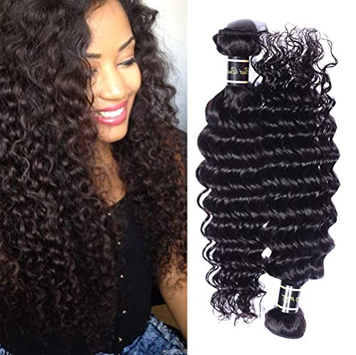 AJIAFA Frau Haarvorhang 100% Unprocessed Brazilian Loose Wave Bundles Virgin Human Hair Brasilianisches Jungfrau-Haar Lose Welle Menschliche Haar Webart,Black,14inches