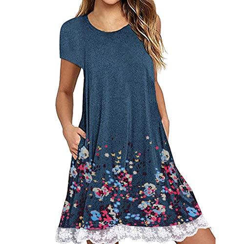 XuxMim Sommerkleid Damen Tshirt Kleid Rundhals Kurzarm Minikleid Kleider Langes Shirt Lose Tunika mit Bowknot Ärmeln(Blau-2,Large)
