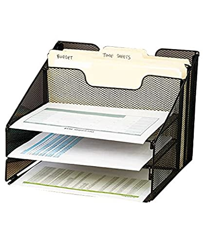 VANRA Metal Mesh Desktop File Sorter Organizer Desk Tray Organize with 3 Letter Trays and 2 Vertical Upright Sections, Black