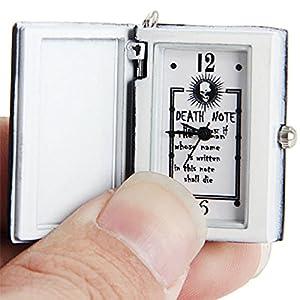 PIXNOR de Death Note Reloj de bolsillo collar, portátil con tapa reloj de bolsillo ((negro) por PIXNOR