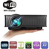 Wireless Wifi Mini Video Projector For Iphone,Weton 1500 Lumens LED HD 1080P Multimedia Home Theater Portable Support HDMI USB SD VGA AV Interface For Home Movies Video Game Entertainment