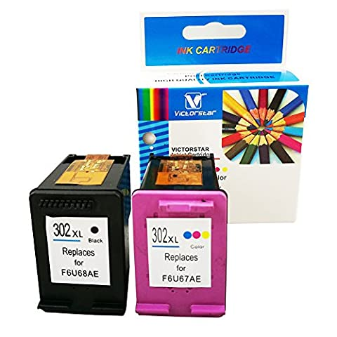 VICTORSTAR @ Remanufactured Ink Cartridges With Visible Ink Level For HP 302XL ( 1 Black+ 1 Tri-Color ) High Yield For HP Officejet 3830 3832 3833 3834 4650 4651 4652 4654 DeskJet 1110 2130 2132 2134 3630 3632 3633 3634 Envy 4520 4522 4523 4524 (BK-Tri)