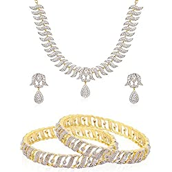 Jewels Galaxy White Gold-Plated American Diamond Bangles, 1 Royal American Diamond Necklace Set For Women