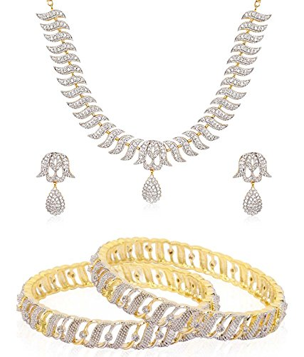 Jewels Galaxy Hand Crafted Precious American Diamond Bangles, 1 Royal American Diamond Necklace Set - Combo Of 2 (2.8)