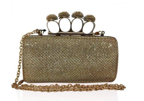 Metal Mesh Abend-Handtasche mit Knuckle Ringe in Gold Farbe von Kabel fuer alle ® (Abend-handtasche Mesh)