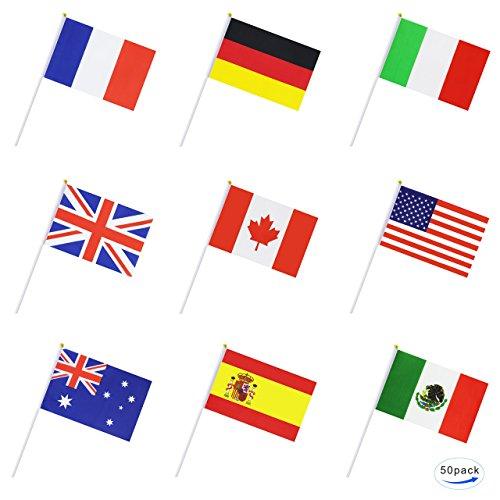ternational Welt Stickflagge, Hand Held Petite Mini National Fahne Banner auf Stäbchen, Würfel für Feierlichkeit; Te für Parades, Olympische, Fußballweltmeisterschaft, Bar, ()