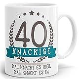 Tasse Geburtstag mit Spruch Kackige 40 - Bedruckter hochglänzender Kaffeebecher zum Geburtstag in weiß ab 1 Stck.