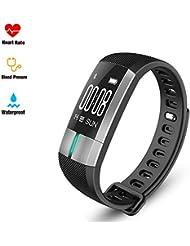 Fitness Armband mit Pulsmesser - Fitness Activity Tracker Pulsometros EKG & PPG Monitoring Smart Watch Echtzeit Herzfrequenz Blutdruck Fitness Sportuhr Rufen Sie SMS für Android IOS