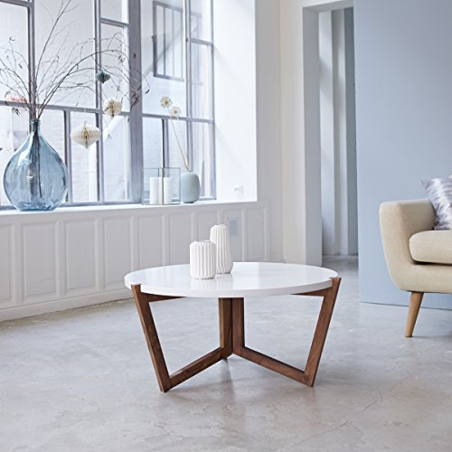 Tikamoon Niels Table Basse - Palissandre - Blanc - 80 x 80 x 40 cm