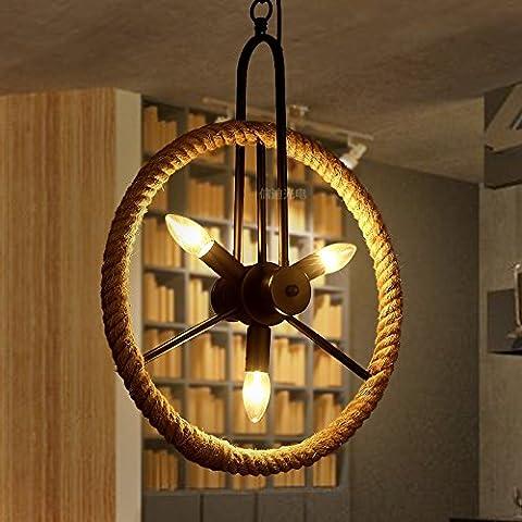 SJMM Style industriel Vintage pendentif finition noire plafond Lampe Lustre suspendu