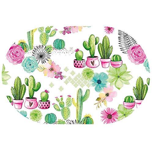 DecoHomeTextil Wachstuchtischdecke Wachstuch Tischdecke Gartentischdecke Rund Oval Kaktus Oval ca. 140 x 200 cm abwaschbare Wachstischdecke