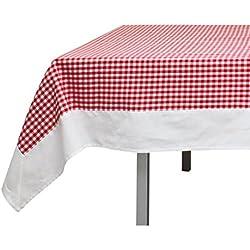 Mantel cuadrado de algodón 140x140 cm VICHY rojo, jacquard