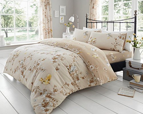 Gaveno Cavailia Kuscheliges Birdie Blossom Bettwäsche-Set mit Bettbezug und Kissen, Polyester-, Natur, Super King (Blossom Bettwäsche-set)
