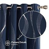 Deconovo Tende Oscuranti Termiche Isolanti Stampate per Camera da Letto Moderne 140x290cm Blu Navy 2 Pannelli