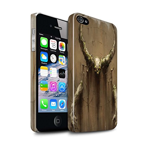 Offiziell Chris Cold Hülle / Glanz Snap-On Case für Apple iPhone 4/4S / Getarnte Teufel Muster / Dunkle Kunst Dämon Kollektion Hörner